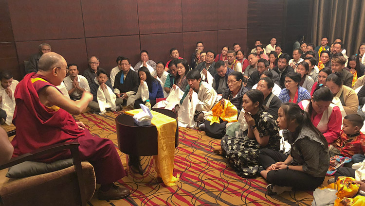 His Holiness the Dalai Lama meeting with members of the Tibetan community in Pune, Maharashtra, India on January 10, 2018. Photo by Tenzin Taklha