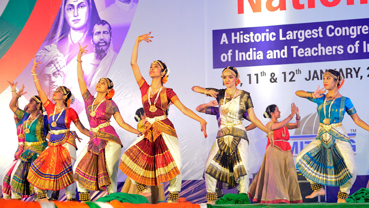 Artists performing classical dance at the start of the 2nd National Teachers' Congress Inaugural Ceremony in Pune, Maharashtra, India on January 10, 2018. Photo by Lobsang Tsering