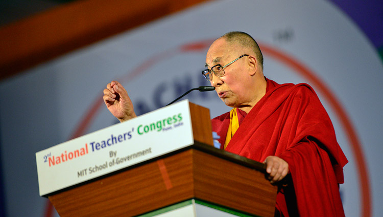 His Holiness the Dalai Lama addressing the audience at the 2nd National Teachers' Congress Inaugural Ceremony at the campus of MAEER MIT World Peace University in Pune, Maharashtra, India on January 10, 2018. Photo by Lobsang Tsering