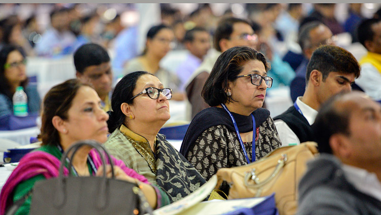 Members of the audience listening to His Holiness the Dalai Lama's address at the 2nd National Teachers' Congress Inaugural Ceremony at the campus of MAEER MIT World Peace University in Pune, Maharashtra, India on January 10, 2018. Photo by Lobsang Tsering