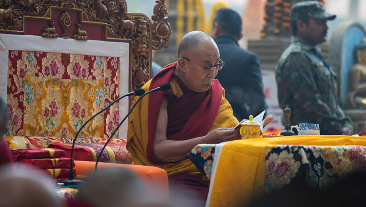 His Holiness the Dalai Lama joining in prayers being held to mark the fifteenth death anniversary of Khenpo Jigme Phuntsok, the celebrated Nyingma Lama around whom the thriving Buddhist community of Larung Gar gathered in Tibet, at the Mahabodhi Stupa in Bodhgaya, Bihar, India on January 13, 2018. Photo by Tenzin Choejor