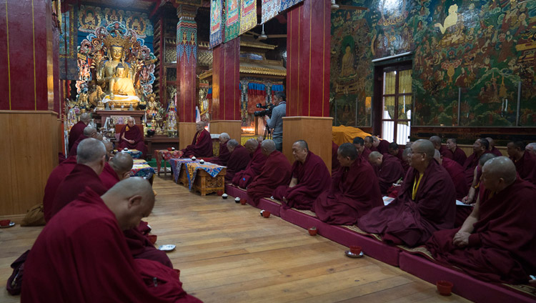 His Holiness the Dalai Lama discussing with Gelukpa abbots and teacher ways to improve education at Gelukpa seats of learning during their meeting at the Tibetan Temple in Bodhgaya, Bihar, India on January 13, 2018. Photo by Tenzin Choejor