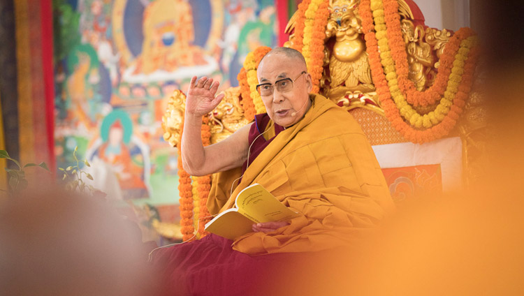 His Holiness the Dalai Lama explaining the text on the second day of teachings in Bodhgaya, Bihar, India on January 15, 2018. Photo by Manuel Bauer