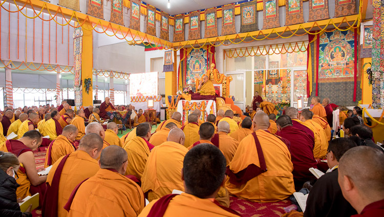 A view of the Kalachakra Pavilion during the second day of His Holiness the Dalai Lama's teaching in Bodhgaya, Bihar, India on January 15, 2018. Photo by Manuel Bauer