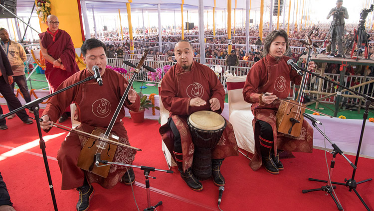 A group of artists performing at the conclusion of the Long-Life Offering for His Holiness the Dalai Lama in Bodhgaya, Bihar, India on January 16, 2018. Photo by Manuel Bauer