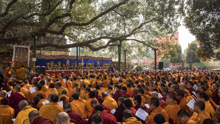 A view of the devotees gathered to join His Holiness the Dalai Lama in prayers by the Bodhi Tree at the Mahabodhi Stupa in Bodhgaya, Bihar, India on January 17, 2018. Photo by Manuel Bauer