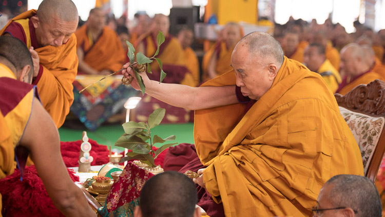 His Holiness the Dala Lama conducting the rituals and meditations necessary to prepare himself to begin the Thirteen Deity Vajrabhairava Empowerment in Bodhgaya, Bihar, India on January 18, 2018. Photo by Manuel Bauer