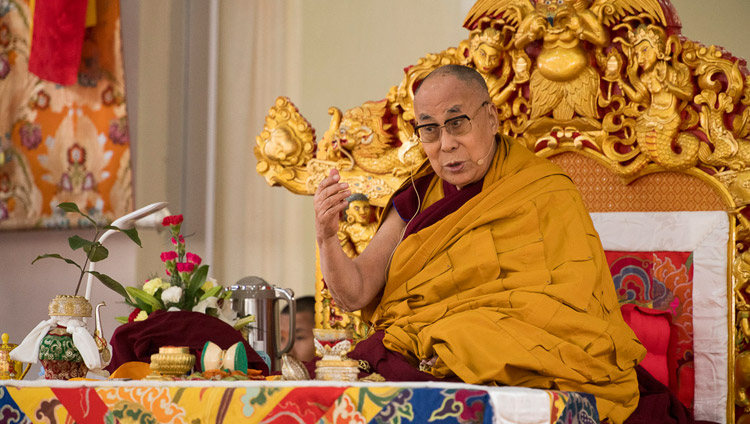 His Holiness the Dalai Lama addressing the crowd during the preparations for the Thirteen Deity Vajrabhairava Empowerment in Bodhgaya, Bihar, India on January 18, 2018. Photo by Manuel Bauer