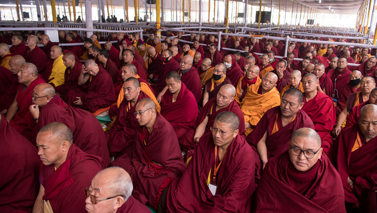 Members of the monastic community attending the preparations for the Thirteen Deity Vajrabhairava Empowerment given by His Holiness the Dalai Lama in Bodhgaya, Bihar, India on January 18, 2018. Photo by Manuel Bauer