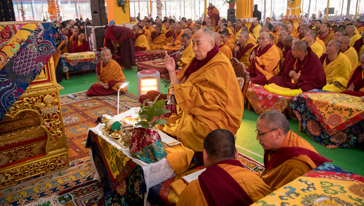 His Holiness the Dalai Lama conducting preliminary procedures for the Thirteen Deity Vajrabhairava Empowerment in Bodhgaya, Bihar, India on January 19, 2018. Photo by Manuel Bauer