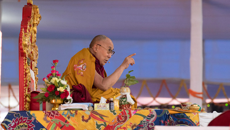 His Holiness the Dalai Lama addressing the crowd during the Thirteen Deity Vajrabhairava Empowerment in Bodhgaya, Bihar, India on January 19, 2018. Photo by Manuel Bauer