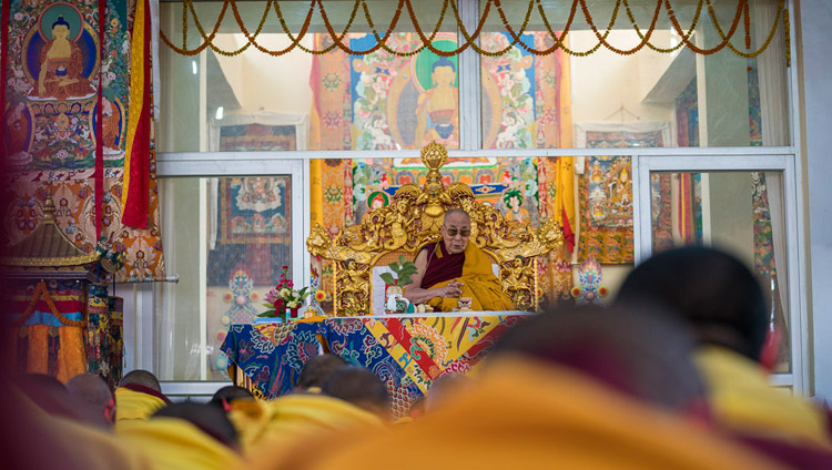 His Holiness the Dalai Lama conferring the Solitary Hero Vajrabhairava Empowerment in Bodhgaya, Bihar, India on January 21, 2018. Photo by Lobsang Tsering