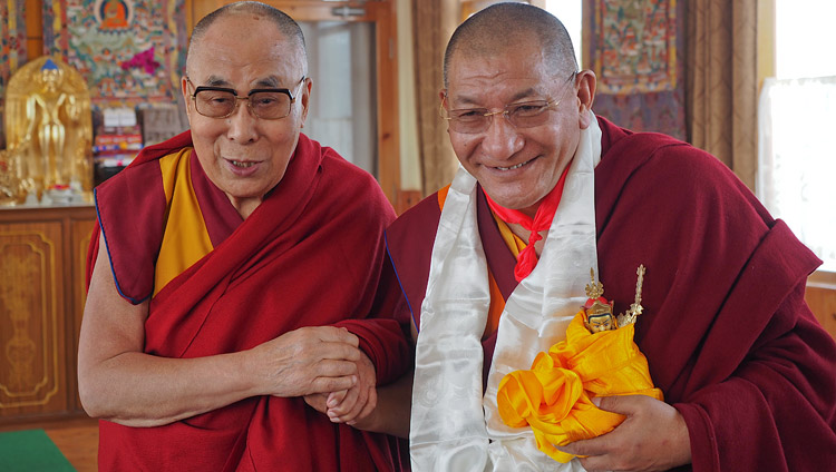 His Holiness the Dalai Lama with Kathok Getse Rinpoche during their meeting in Bodhgaya, Bihar, India on January 27, 2018. Photo by Jeremy Russell