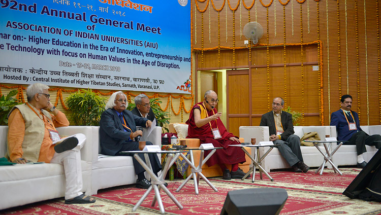 His Holiness the Dalai Lama speaking during a short interaction with Vice-Chancellors on the second day of the Association of Indian Universities' Meet at Sarnath, UP, India on March 20, 2018. Photo by Lobsang Tsering