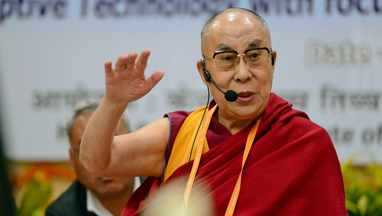 His Holiness the Dalai Lama delivering his opening remarks on the second day of the Association of Indian Universities' Meet at Sarnath, UP, India on March 20, 2018. Photo by Lobsang Tsering