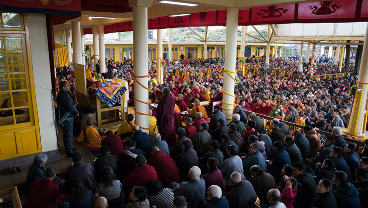 His Holiness the Dalai Lama addressing the crowd at the Main Tibetan Temple courtyard in Dharamsala, HP, India on March 2, 2018. Photo by Tenzin Choejor