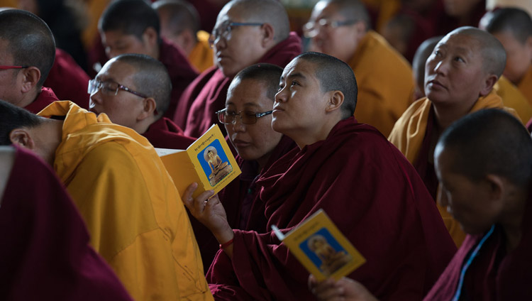 Monastics in the audience listening to His Holiness the Dalai Lama speaking on the Day of Miracles at the the Main Tibetan Temple courtyard in Dharamsala, HP, India on March 2, 2018. Photo by Tenzin Choejor
