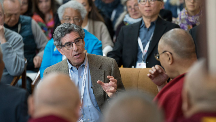Richard Davidson speaking on the opening day of the 33rd Mind & Life Conference - Reimagining Human Flourishing - at the Main Tibetan Temple in Dharamsala, HP, India on March 12, 2018. Photo by Tenzin Choejor