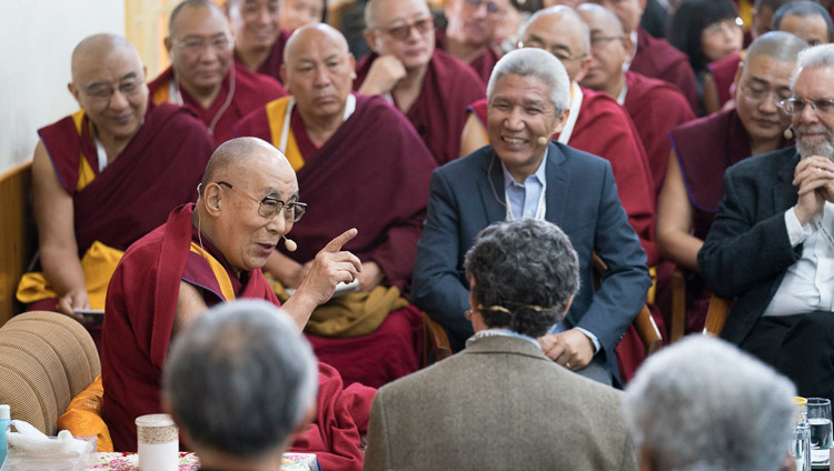 His Holiness the Dalai remarking on the purpose of his meeting with scientists on the opening day of the 33rd Mind & Life Conference - Reimagining Human Flourishing - at the Main Tibetan Temple in Dharamsala, HP, India on March 12, 2018. Photo by Tenzin Choejor