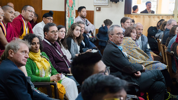 Some of the more than 300 guests listening to His Holiness the Dalai Lama speaking on the opening day of the 33rd Mind & Life Conference - Reimagining Human Flourishing - at the Main Tibetan Temple in Dharamsala, HP, India on March 12, 2018. Photo by Tenzin Choejor