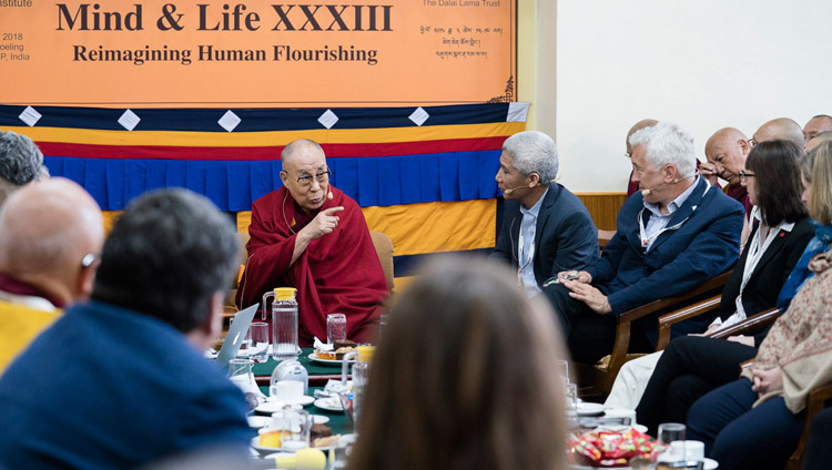 His Holiness the Dalai Lama addressing the gathering on the opening day of the 33rd Mind & Life Conference - Reimagining Human Flourishing - at the Main Tibetan Temple in Dharamsala, HP, India on March 12, 2018. Photo by Tenzin Choejor