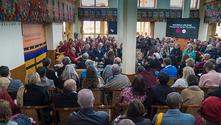 His Holiness the Dalai Lama remarking on Dan Goleman's presentation as the morning session  of the opening day of the 33rd Mind & Life Conference neared it's conclusion at the Main Tibetan Temple in Dharamsala, HP, India on March 12, 2018. Photo by Tenzin Choejor