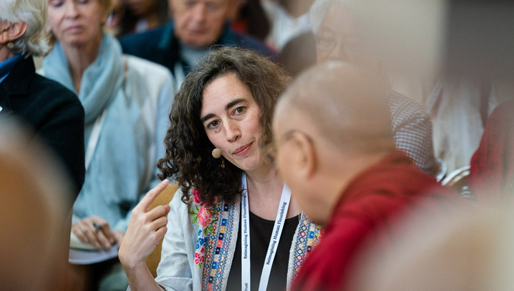 Jennifer Knox of Emory University talking about her work with Social Emotional and Ethical Learning (SEEL) during her presentation on the second day of the 33rd Mind & Life Conference at the Main Tibetan Temple in Dharamsala, HP, India on March 13, 2018. Photo by Tenzin Choejor