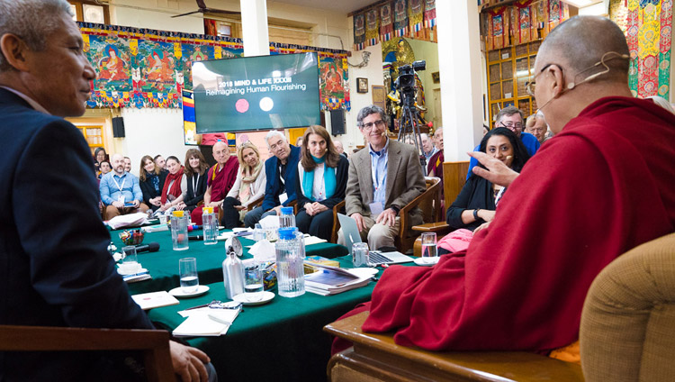 His Holiness the Dalai Lama recalling a story at the start of the third day of the Mind & Life Conference at the Main Tibetan Temple in Dharamsala, HP, India on March 14, 2018. Photo by Tenzin Choejor
