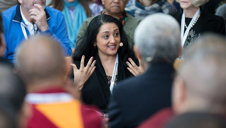 Amishi Jha talking about about meta-awareness and attention training on the third day of the Mind & Life Conference at the Main Tibetan Temple in Dharamsala, HP, India on March 14, 2018. Photo by Tenzin Choejor