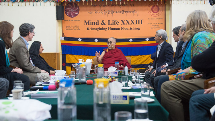 His Holiness the Dalai Lama discussing perception with Amish Jha during her presentation on the third day of the Mind & Life Conference at the Main Tibetan Temple in Dharamsala, HP, India on March 14, 2018. Photo by Tenzin Phuntsok