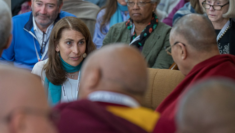 Sona Dimidjian talking about her work with mental training in a clinical context on the third day of the Mind & Life Conference at the Main Tibetan Temple in Dharamsala, HP, India on March 14, 2018. Photo by Tenzin Choejor