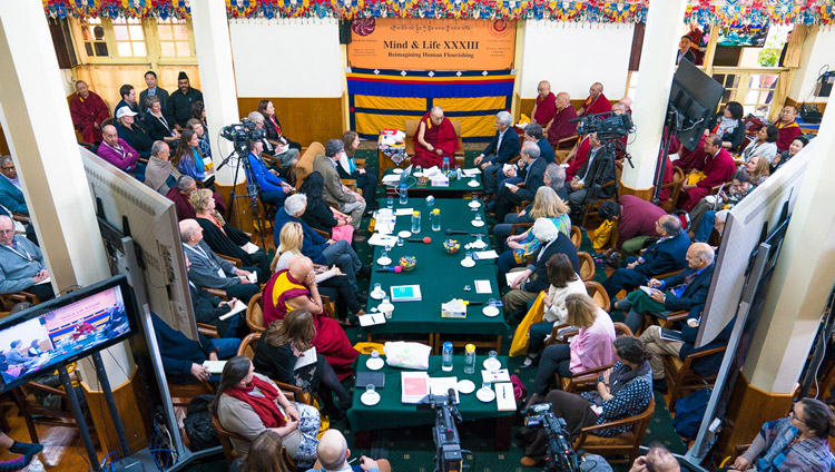 An overhead view of His Holiness the Dalai Lama, fellow participants and guests on the third day of the Mind & Life Conference at the Main Tibetan Temple in Dharamsala, HP, India on March 14, 2018. Photo by Tenzin Choejor