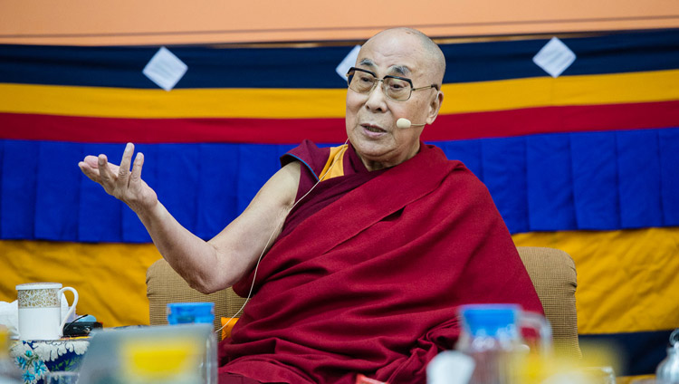 His Holiness the Dalai Lama speaking at the start of the fourth day of the Mind & Life Conference at the Main Tibetan Temple in Dharamsala, HP, India on March 15, 2018. Photo by Tenzin Phuntsok