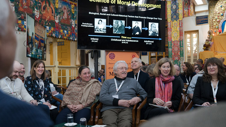 Fellow participants and guests listening to Robert Roeser's presentation on the fourth day of the Mind & Life Conference at the Main Tibetan Temple in Dharamsala, HP, India on March 15, 2018. Photo by Tenzin Choejor