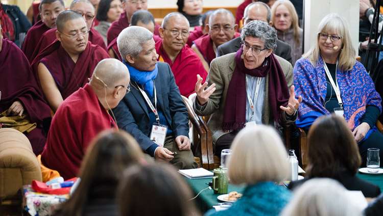 Richard Davidson summarizing the weeks proceedings on the final day of the Mind & Life Conference at the Main Tibetan Temple in Dharamsala, HP, India on March 16, 2018. Photo by Tenzin Choejor