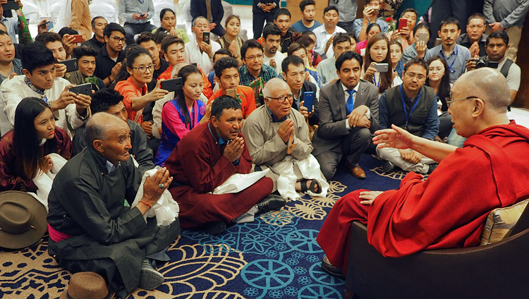 His Holiness the Dalai Lama meeting with people from Ladakh and Zanskar at his hotel in Jammu, J&K, India on March 18, 2018. Photo by Jeremy Russell