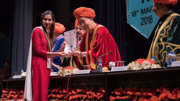 His Holiness the Dalai Lama presenting Merit Certificates at the First Convocation of the Central University of Jammu in Jammu, J&K, India on March 18, 2018. Photo by Tenzin Choejor