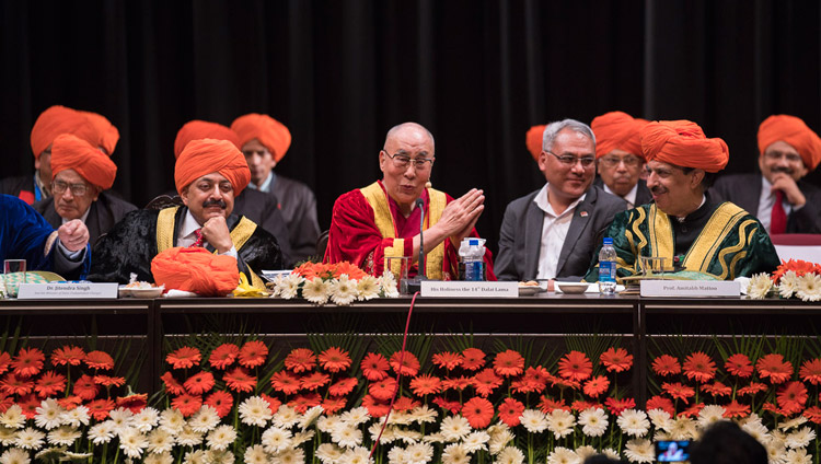 His Holiness the Dalai Lama speaking at the First Convocation of the Central University of Jammu in Jammu, J&K, India on March 18, 2018. Photo by Tenzin Choejor