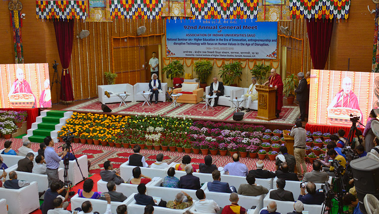 A view of the hall at the Central Institute of Higher Tibetan Studies as His Holiness the Dalai Lama delivers the inaugural address at the  92nd Annual Meet of Association of Indian Universities at CIHTS in Sarnath, UP, India on March 19, 2018. Photo by Lobsang Tsering