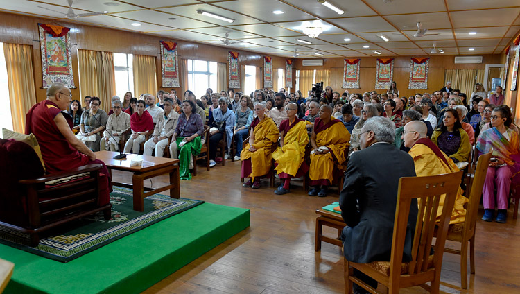 His Holiness the Dalai Lama addressing a gathering of people from around the world at his residence in Dharamsala, HP, India on March 30, 2018. Photo by Ven Damchoe
