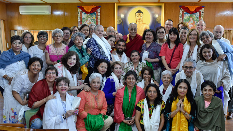 His Holiness the Dalai Lama with some of the almost 150 people from around that world after their meeting at his residence in Dharamsala, HP, India on March 30, 2018. Photo by Ven Damchoe