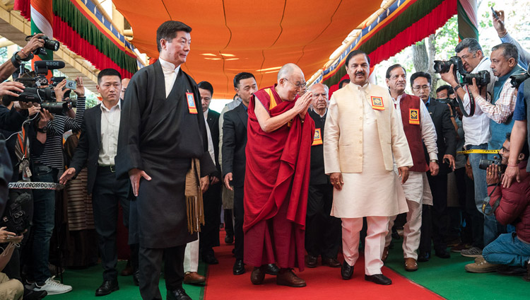 His Holiness the Dalai Lama and special guests arriving at the Main Tibetan Temple courtyard for the Thank You India celebration in Dharamsala, HP, India on March 31, 2018. Photo by Tenzin Choejor
