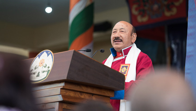 R.K. Khrimey, the National Convener of the Core Group for the Tibetan Cause speaking at the Thank You India celebrations in Dharamsala, HP, India on March 31, 2018. Photo by Tenzin Choejor