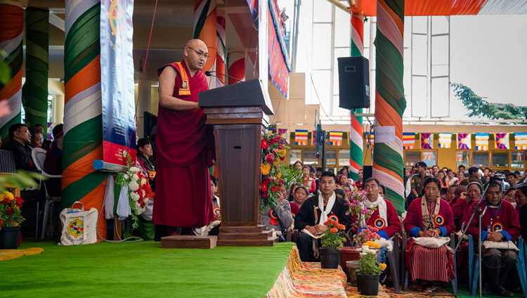Speaker of the Tibetan Parliament in Exile, Ven Khenpo Sonam Tenphel, addressing the gathering at the Thank You India celebration at the Main Tibetan Temple courtyard in Dharamsala, HP, India on March 31, 2018. Photo by Tenzin Choejor