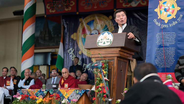Sikyong Dr Lobsang Sangay addressing the gathering during the Thank You India celebration at the Main Tibetan Temple in Dharamsala, HP, India on March 31, 2018. Photo by Tenzin Choejor