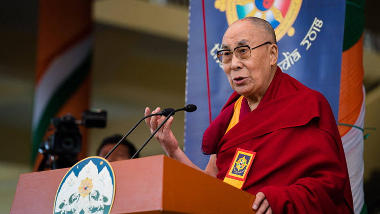 His Holiness the Dalai Lama speaking at the Thank You India celebration at the Main Tibetan Temple in Dharamsala, HP, India on March 31, 2018. Photo by Tenzin Choejor