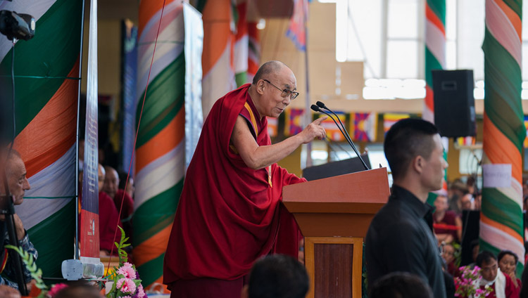 His Holiness the Dalai Lama addressing the gathering at the Thank You India celebration at the Main Tibetan Temple in Dharamsala, HP, India on March 31, 2018. Photo by Tenzin Choejor