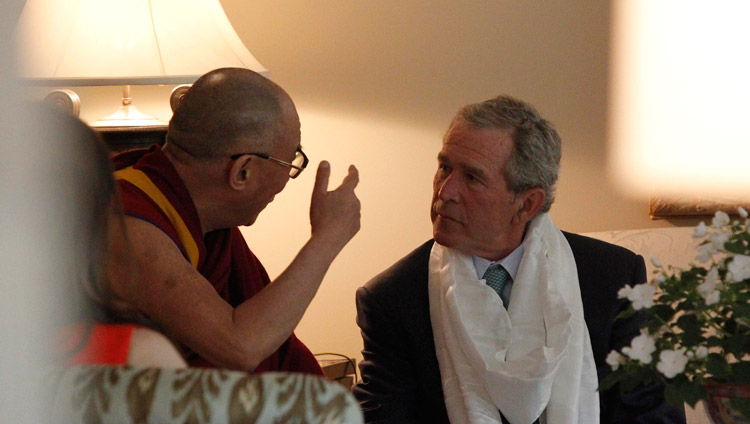 His Holiness the Dalai Lama during his visit to President George W. Bush's residence in Dallas, Texas, USA on May 10, 2011. (Photo courtesy Bush Center)
