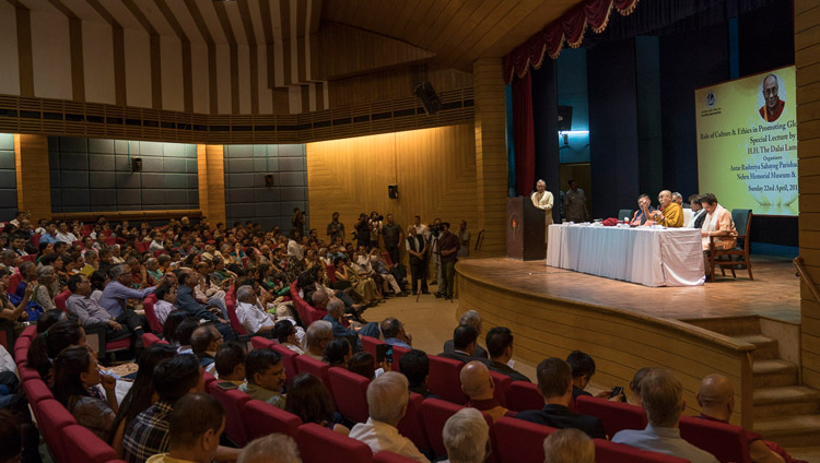A view of the stage at the Nehru Memorial Museum and Library auditorium during His Holiness the Dalai Lama's talk in New Delhi, India on April 22, 2018. Photo by Tenzin Choejor