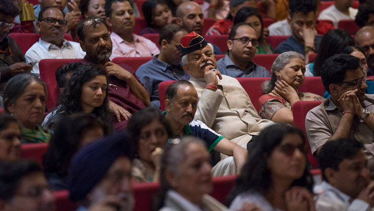 Some of the over 300 people listening to His Holiness the Dalai Lama speaking at the Nehru Memorial Museum and Library auditorium in New Delhi, India on April 22, 2018. Photo by Tenzin Choejor